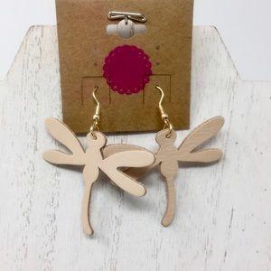 Jewelry - Nude vegan leather dragonfly earrings